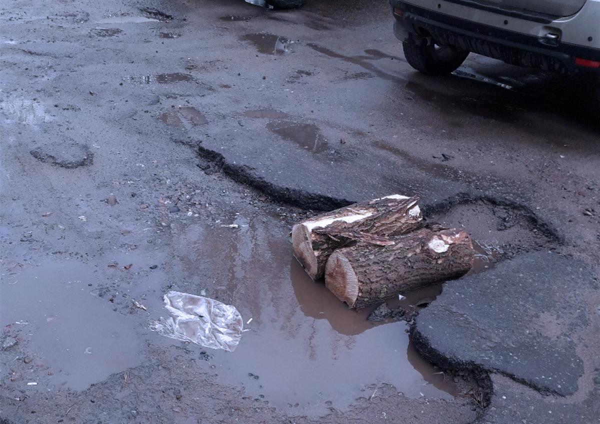 В Тверской области отремонтировали дорогу бревнами